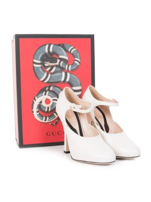 Retro Style Cream Leather Ankle Strap Pumps by Gucci - Le Dressing Monaco