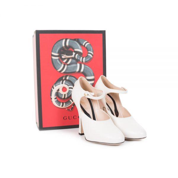 Retro Style Cream Leather Ankle Strap Pumps by Gucci - Le Dressing Monaco