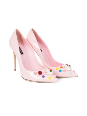 Teapot and Studs Pastel Pink Pumps by Dolce e Gabbana - Le Dressing Monaco