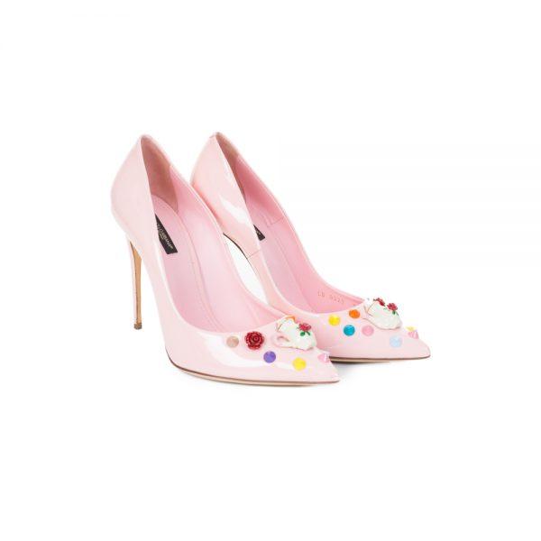 Teapot and Studs Pastel Pink Pumps by Dolce e Gabbana - Le Dressing Monaco