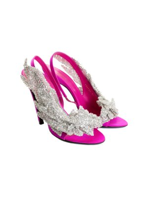 Sequin Embellished Satin Open Toe & Heel Pump by Balenciaga - Le Dressing Monaco