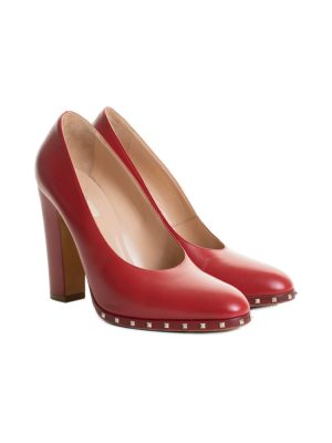 Red Leather Rockstud High Heel Pumps by Valentino - Le Dressing Monaco