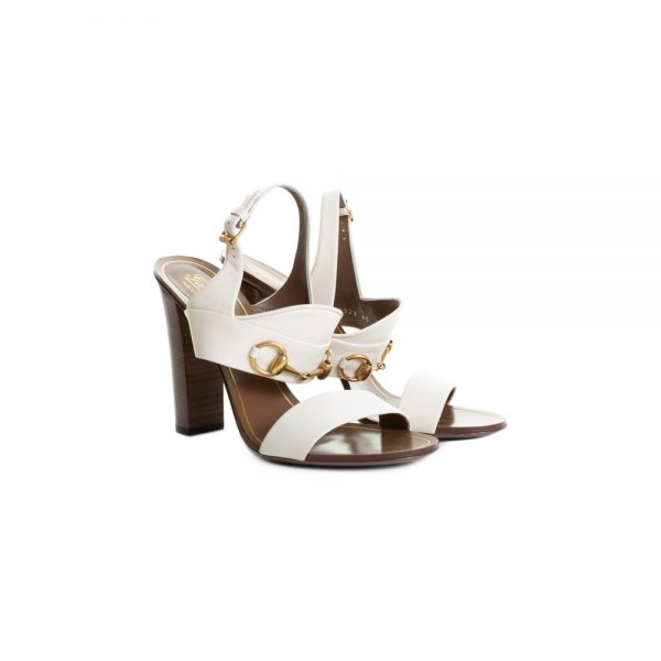 Beige Leather High Heel Sandals by Gucci - Le Dressing Monaco