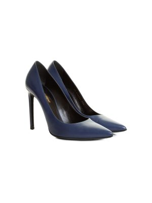 Blue Leather High Heel Pumps by Saint Laurent - Le Dressing Monaco
