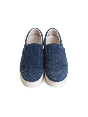 Blue Suede Intrecciato Sneakers by Bottega Veneta - Le Dressing Monaco