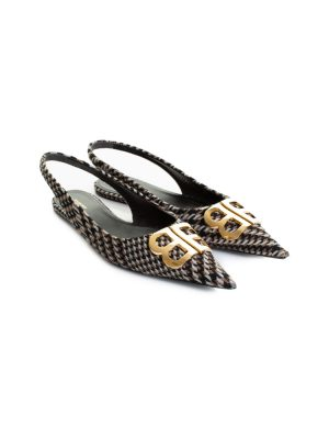 BB Pointy Open Heel Flat Tweed Ballerinas by Balenciaga - Le Dressing Monaco