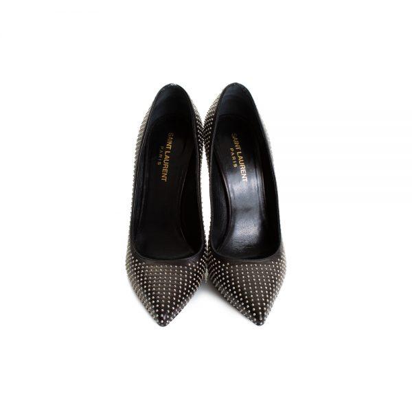 Studded Black High Heel Pumps by Saint Laurent - Le Dressing Monaco