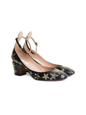 Black Gold Stars Embroidered Ballerinas by Valentino - Le Dressing Monaco