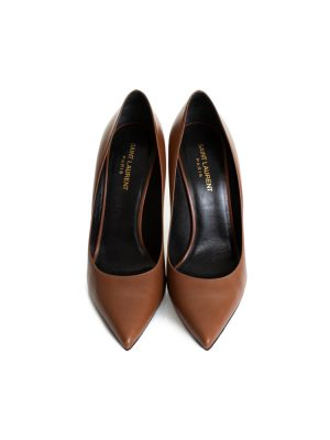 Brown Leather High Heel Pumps by Saint Laurent - Le Dressing Monaco