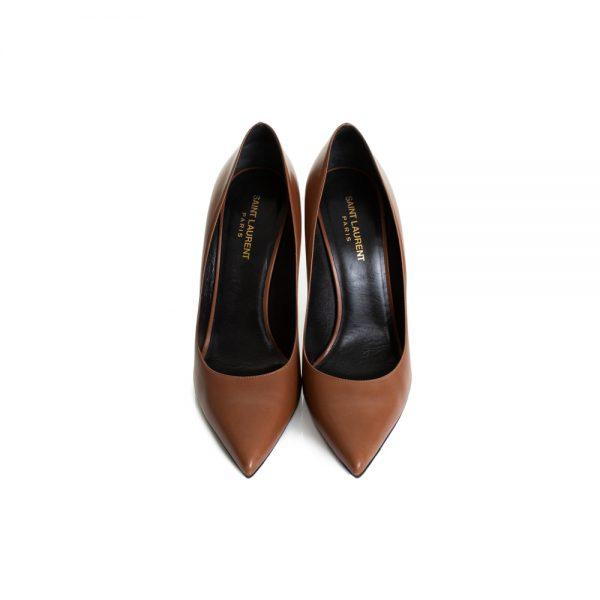 Brown Leather High Heel Pumps by Saint Laurent - Le Dressing Monaco