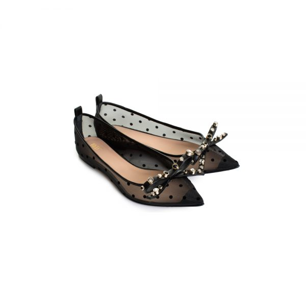 Pointy Nylon Ballerinas Studded Bows by Red Valentino - Le Dressing Monaco