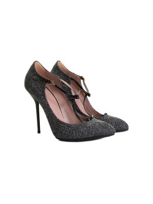 Grey Tweed Salomé High Heel Pumps by Gucci - Le Dressing Monaco