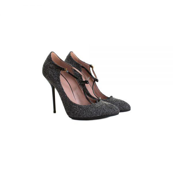 Grey Tweed Salomé High Heel Pumps by Gucci - Le Dressing Monaco