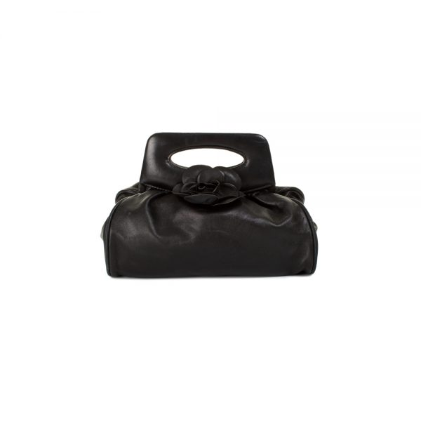 Mini Camellia Black Leather Handbag by Chanel - Le Dressing Monaco