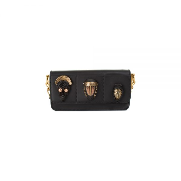 African Masks Black Leather Handbag by Valentino - Le Dressing Monaco