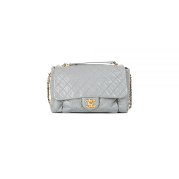 Blue Grey Quilted Leather Flapbag by Chanel - Le Dressing Monaco