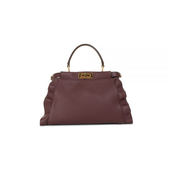 Large Aubergine Wave Peekaboo Handbag by Fendi - Le Dressing Monaco