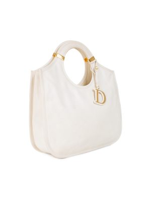 Off-White Leather Shopper Tote by Christian Dior - Le Dressing Monaco