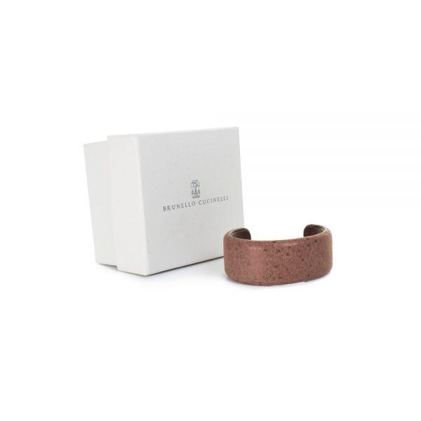 Brown Ostrich Leather Bracelet by Brunello Cucinelli - Le Dressing Monaco