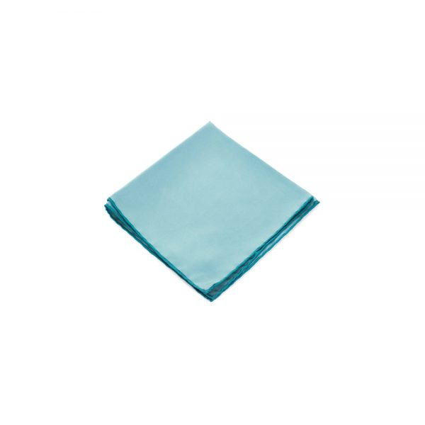 Plain Turquoise Silk Pocket Square by Hermès - Le Dressing Monaco