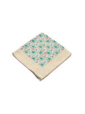 Beige Elephants Silk Pocket Square by Hermès - Le Dressing Monaco