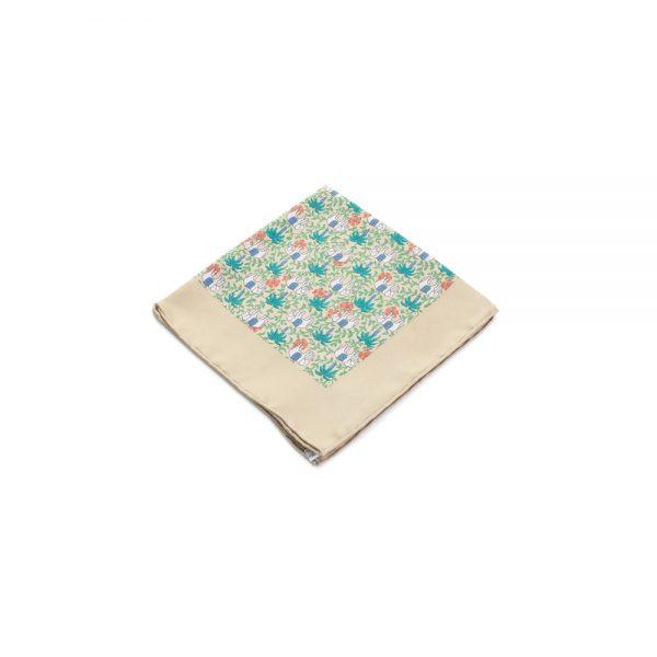 Beige Elephants Silk Pocket Square by Hermès - Le Dressing Monaco