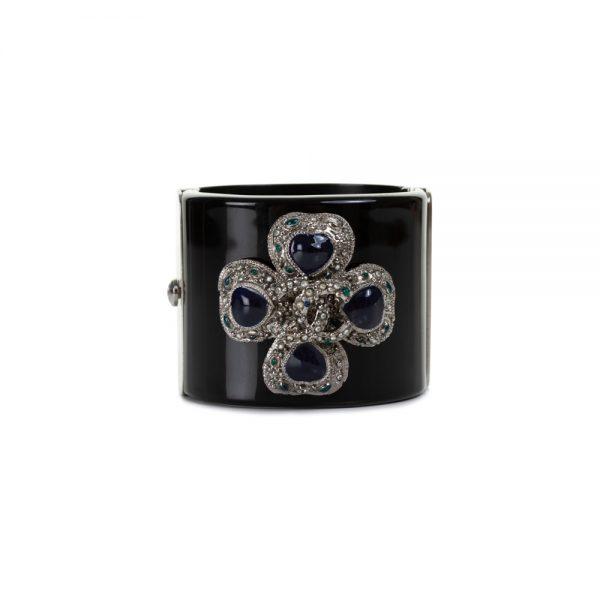 Black Ornamented Plexi Manchette by Chanel - Le Dressing Monaco