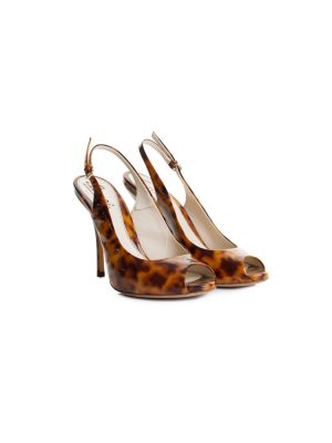 Brown Black Turtle Shell Open Toe Sling-Backs by Gucci - Le Dressing Monaco