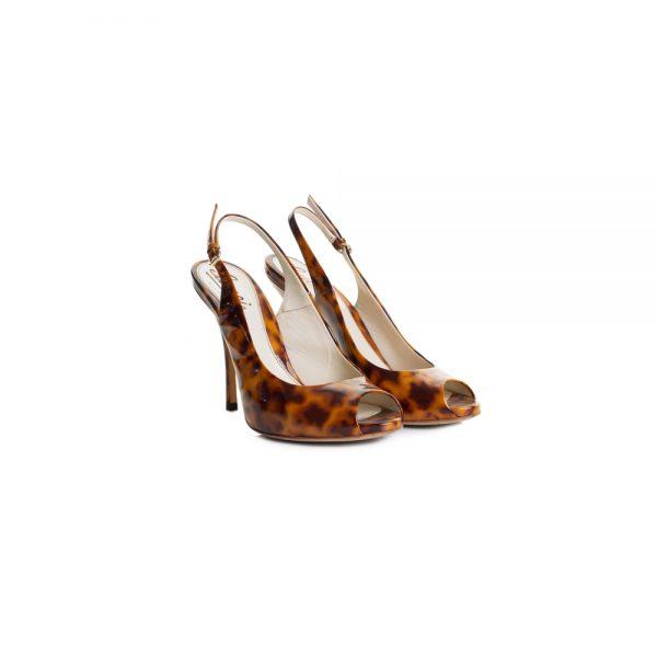 Turtle Shell Open Toe Open Heel Pumps by Gucci - Le Dressing Monaco