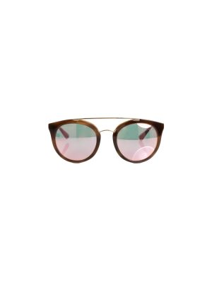 Brown Metal Frame Mirror Sunglasses by Prada - Le Dressing Monaco
