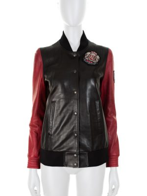 Red and Black Leather College Jacket by Balmain - Le Dressing Monaco