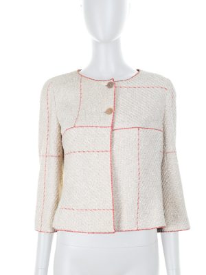 Red Lines Short Beige Cotton Jacket by Chanel - Le Dressing Monaco