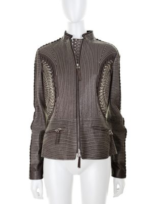 Multiple Perforation Leather Jacket by Gianfranco Ferre - Le Dressing Monaco