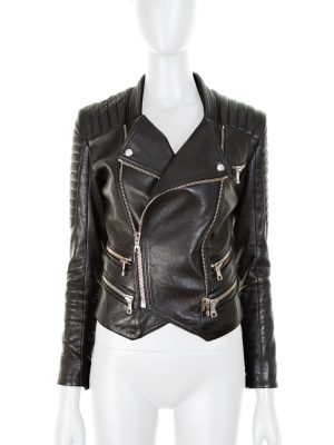 Black Leather Perfecto by Balmain - Le Dressing Monaco