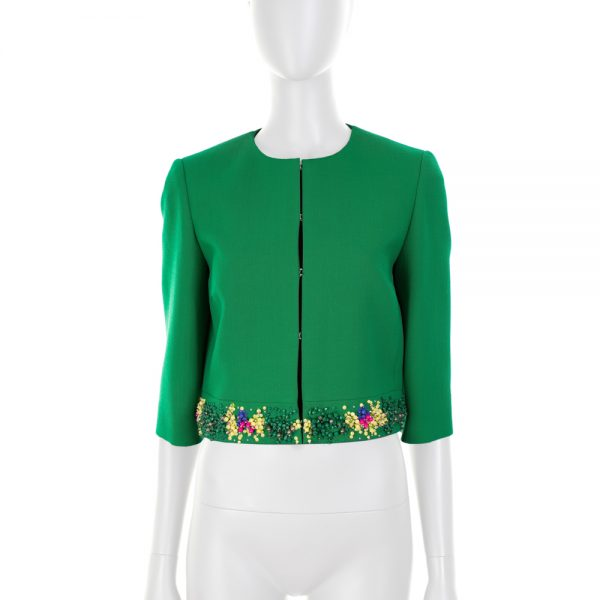 Green Short Jacket Bead Embellishments by Emilio Pucci - Le Dressing Monaco