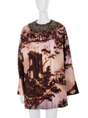 Printed Coat With Removable Strass Collar by Prada - Le Dressing Monaco