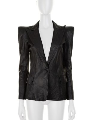 Black Leather Blazer With Epaulettes by Balmain - Le Dressing Monaco