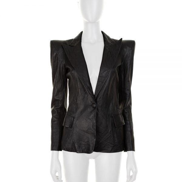 Black Leather Blazer With Epaulettes by Balmain - Le Dressing Monaco