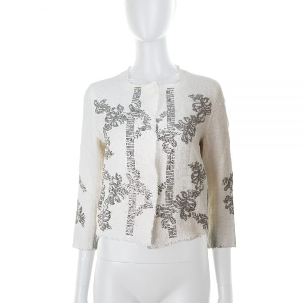 Short White Jacket With Strass by Ermanno Scervino - Le Dressing Monaco