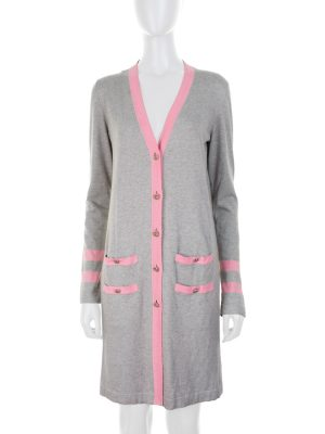 Pink And Grey Long Cardigan by Chanel - Le Dressing Monaco