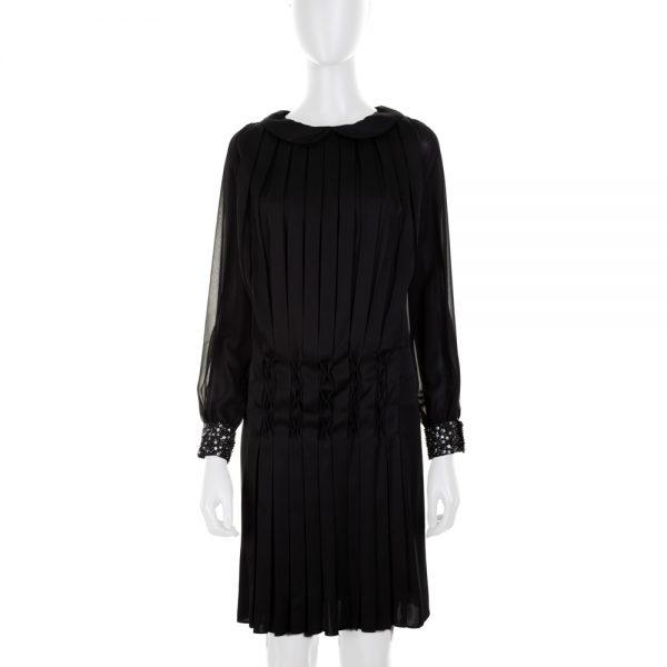 Pleated Black Silk Dress by Diane Von Furstenberg - Le Dressing Monaco
