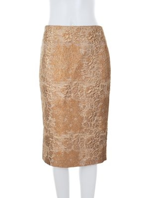 Gold Brocart Pencil Skirt by Valentino - Le Dressing Monaco