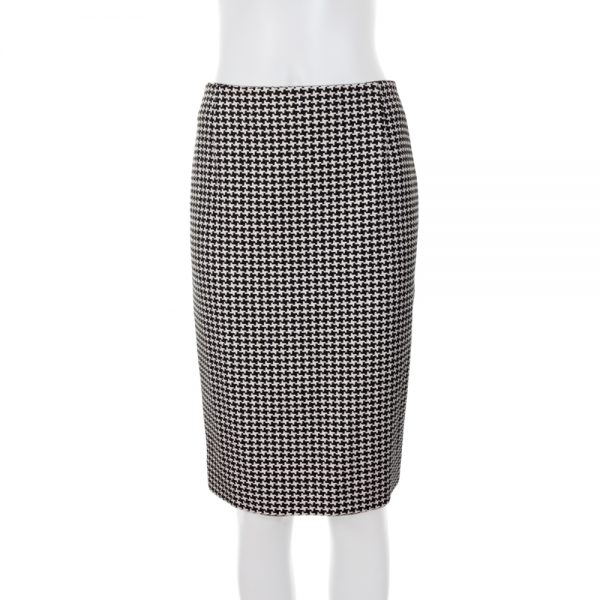 Houndstooth Pattern Wool Pencil Skirt by Christian Dior - Le Dressing Monaco