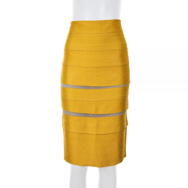 Gold Pencil Skirt Transparent Parts by Gianfranco Ferré - Le Dressing Monaco