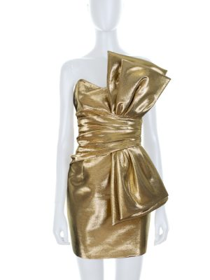 Gold Lamé Bustier Mini Dress by Saint Laurent - Le Dressing Monaco