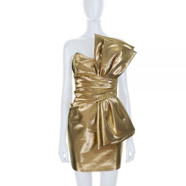 Gold Lamé Bustier Mini Dress by Saint Laurent - Le Dressing Monaco