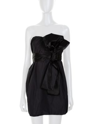 Black Large Knot Bustier Mini Dress by Dolce e Gabbana - Le Dressing Monaco