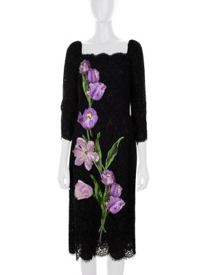 Embroidered Purple Tulips Dress by Dolce e Gabbana - Le Dressing Monaco