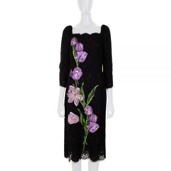 Embroidered Purple Tulips Dress by Dolce e Gabbana - Le Dressing Monaco