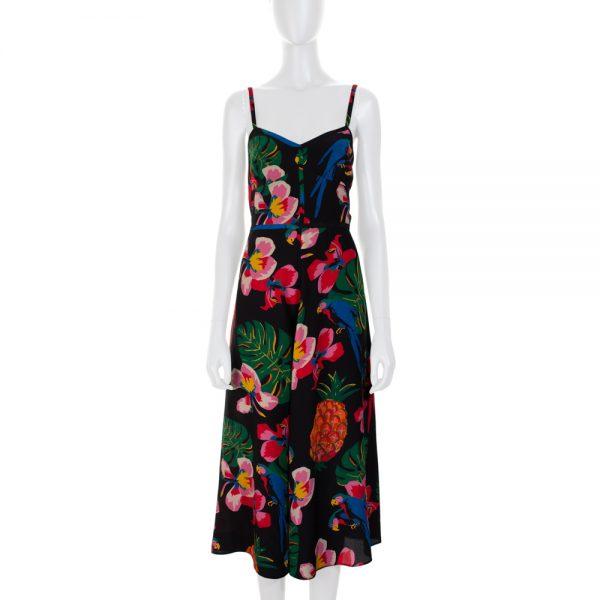 Flower Print Long Strap Silk Dress by Valentino - Le Dressing Monaco